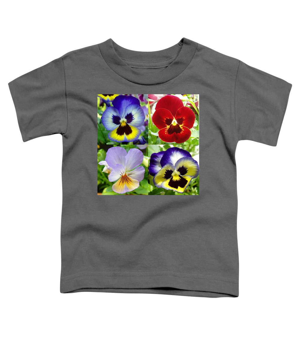 Pansy Toddler T-Shirt featuring the photograph Four Pansies by Nancy Mueller