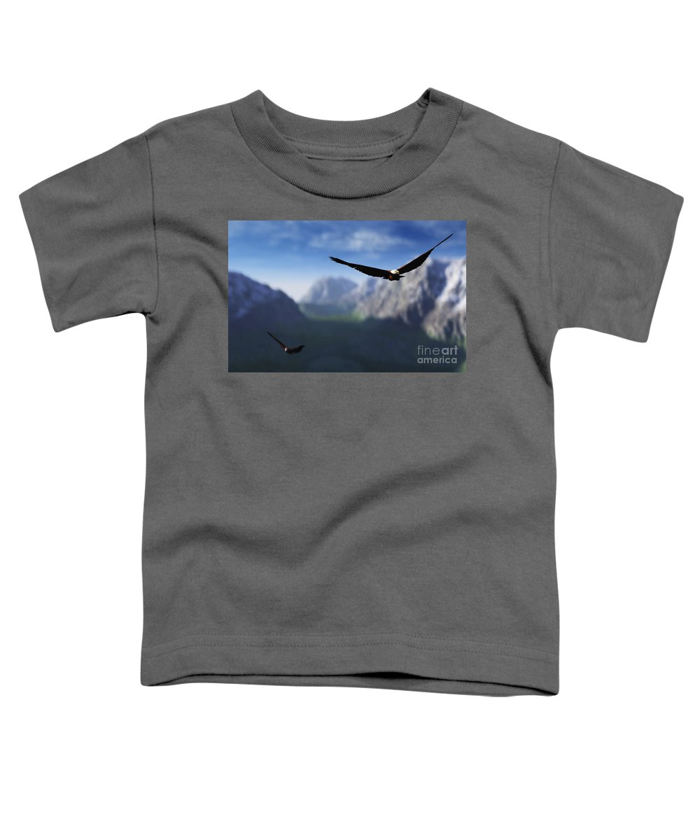 Eagles Toddler T-Shirt featuring the digital art Free Bird by Richard Rizzo