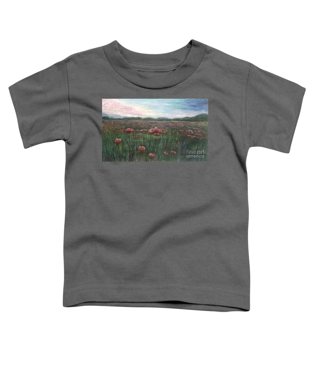 France Toddler T-Shirt featuring the painting French Poppies by Nadine Rippelmeyer