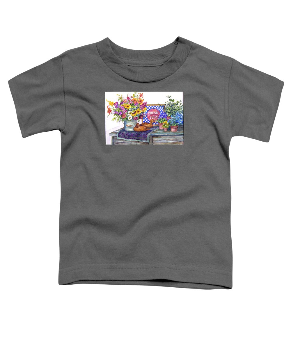Watercolor;ducks;decoys;floral;mixed Bouquet;potted Plants;checkerboard;quilt; Toddler T-Shirt featuring the painting Fresh Eggs by Lois Mountz
