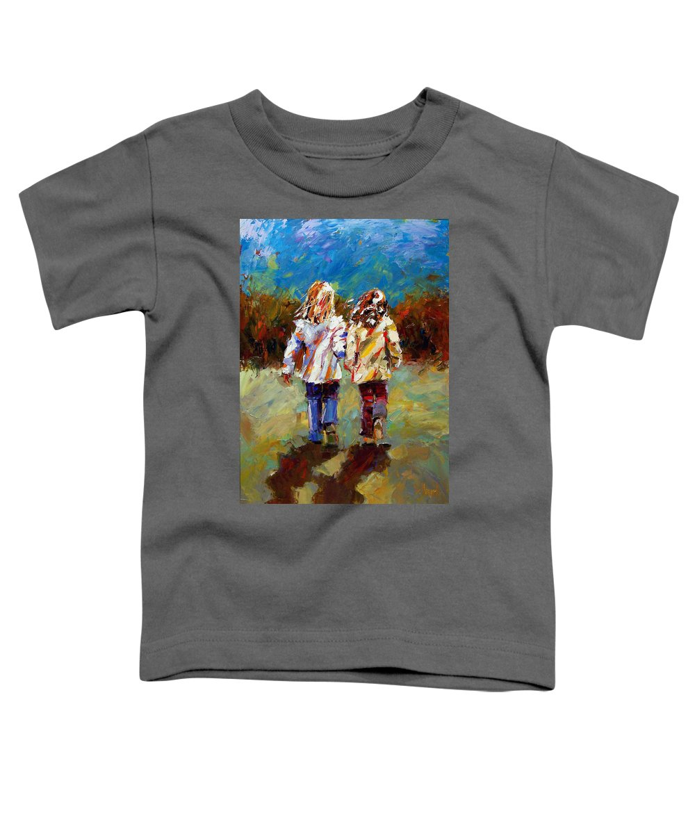 Girls Toddler T-Shirt featuring the painting Friends Forever by Debra Hurd