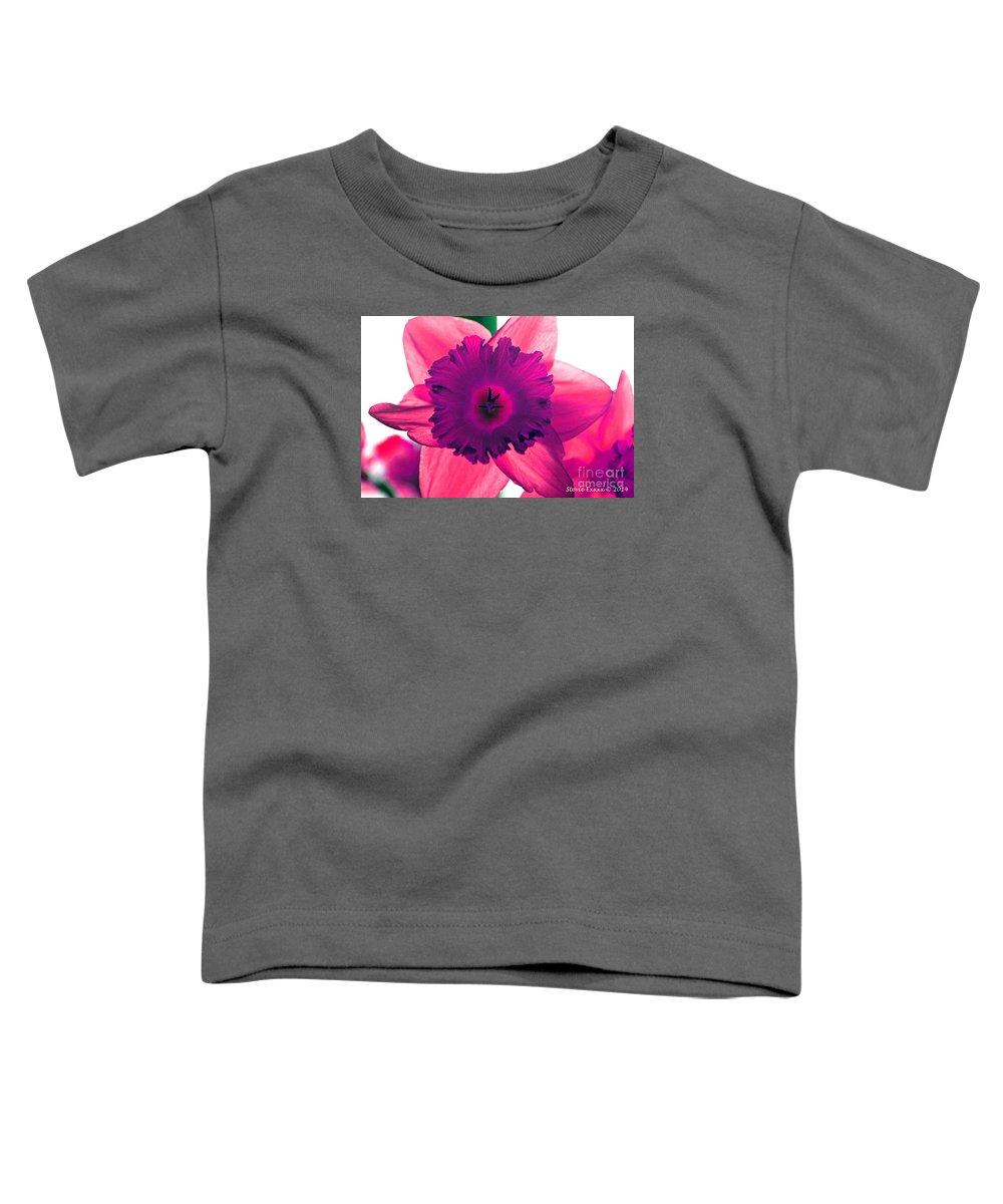 Pink Fuchsia Bloom Flower Daffodil Edit Photograph Digital Modern Edge Nature Toddler T-Shirt featuring the photograph Fuchsia by Stevie Ellis