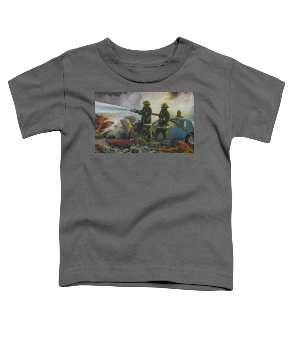 Firefighters Toddler T-Shirt featuring the painting Garage Fire by John Malone