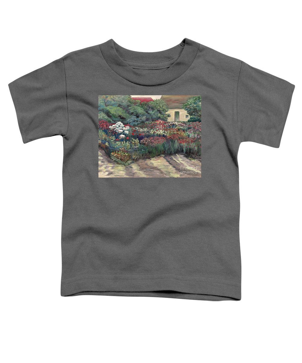 Breck Toddler T-Shirt featuring the painting Garden At Giverny by Nadine Rippelmeyer