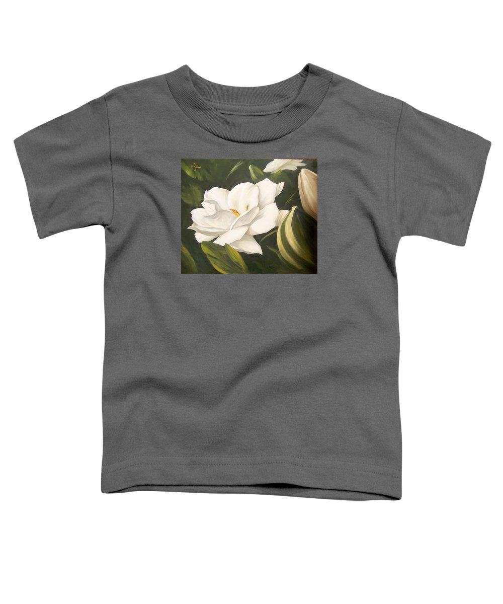 Gardenia Flower Toddler T-Shirt featuring the painting Gardenia by Natalia Tejera