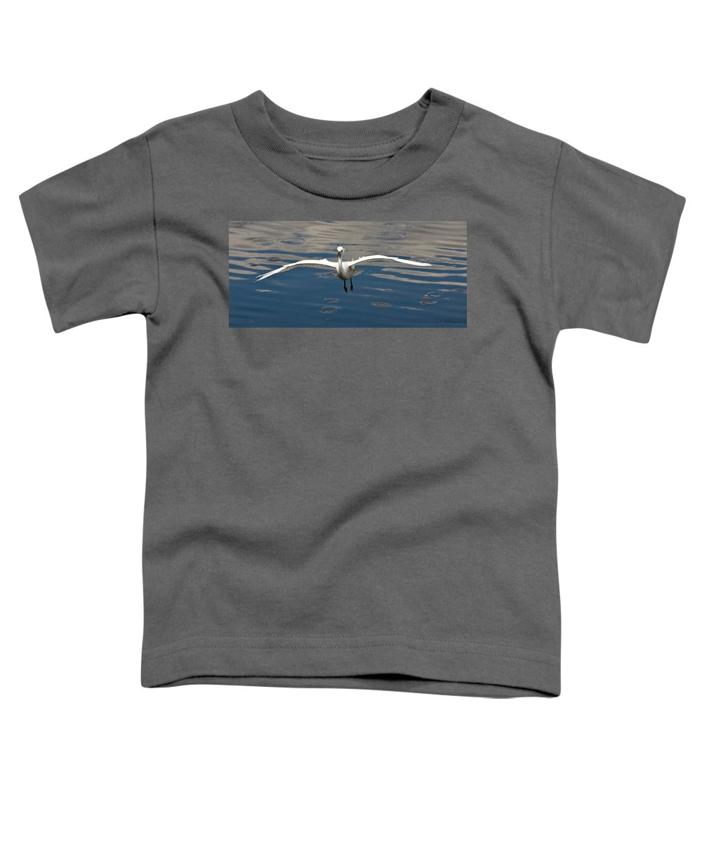 Snowy Egret Toddler T-Shirt featuring the photograph Gear Down by Christopher Holmes