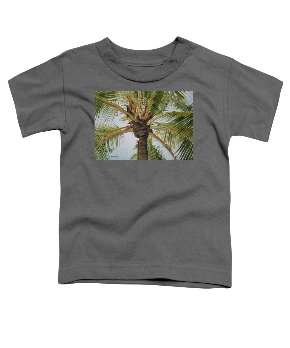 Palm Tree Toddler T-Shirt featuring the painting Gecko Heaven by Jean Blackmer