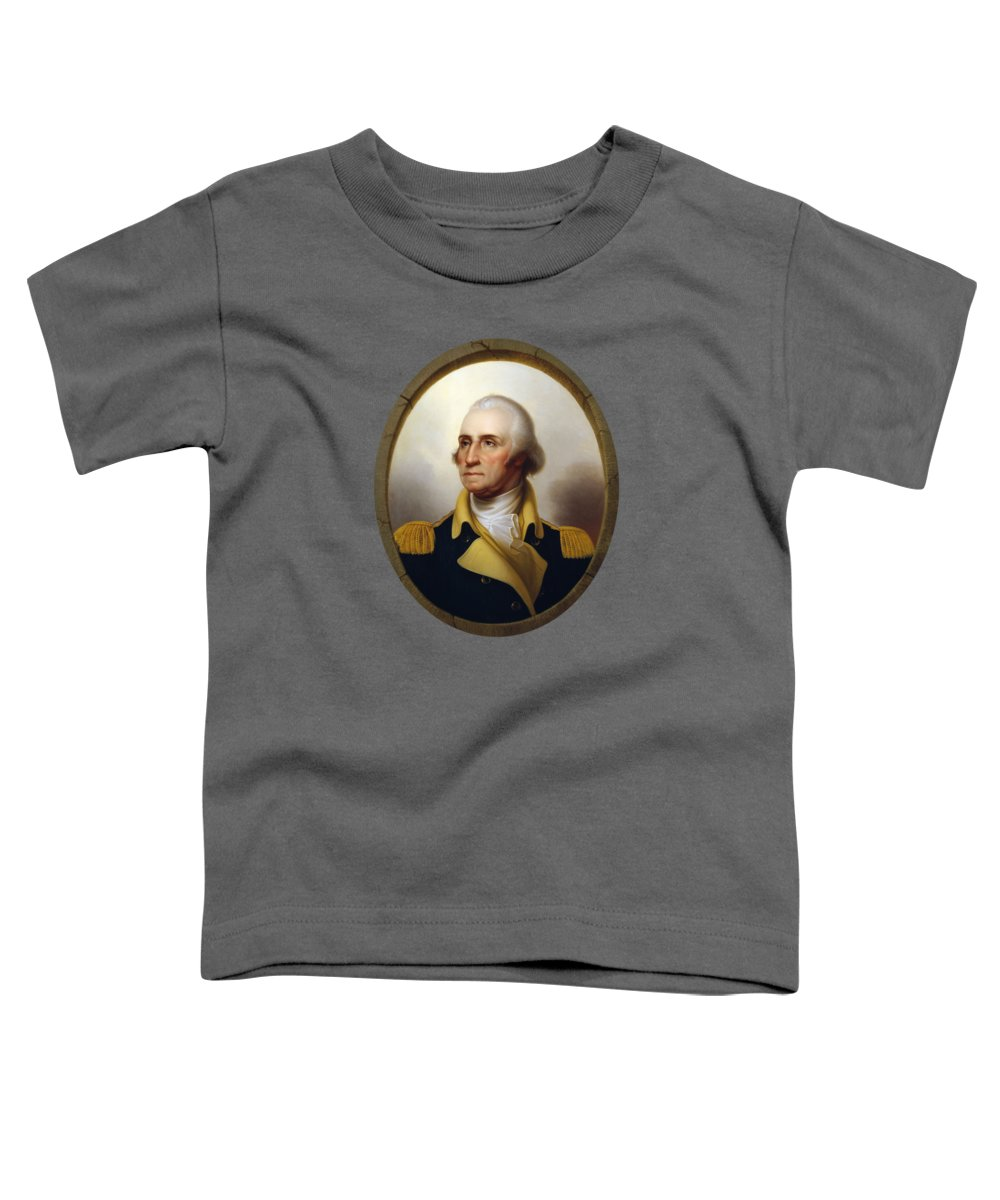 George Washington Toddler T-Shirt featuring the painting General Washington - Porthole Portrait by War Is Hell Store