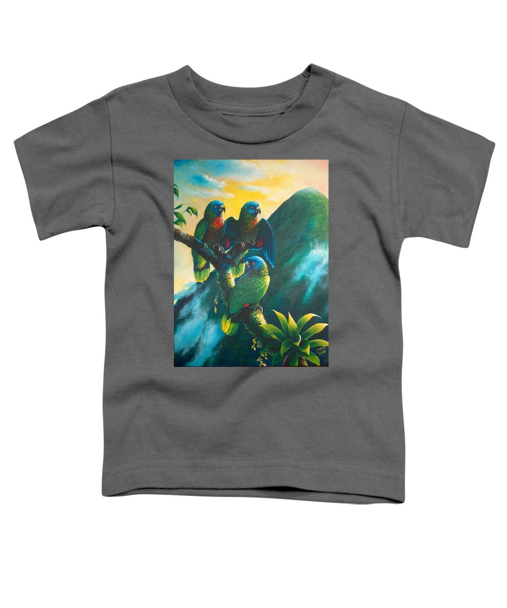 Chris Cox Toddler T-Shirt featuring the painting Gimie Dawn 1 - St. Lucia Parrots by Christopher Cox