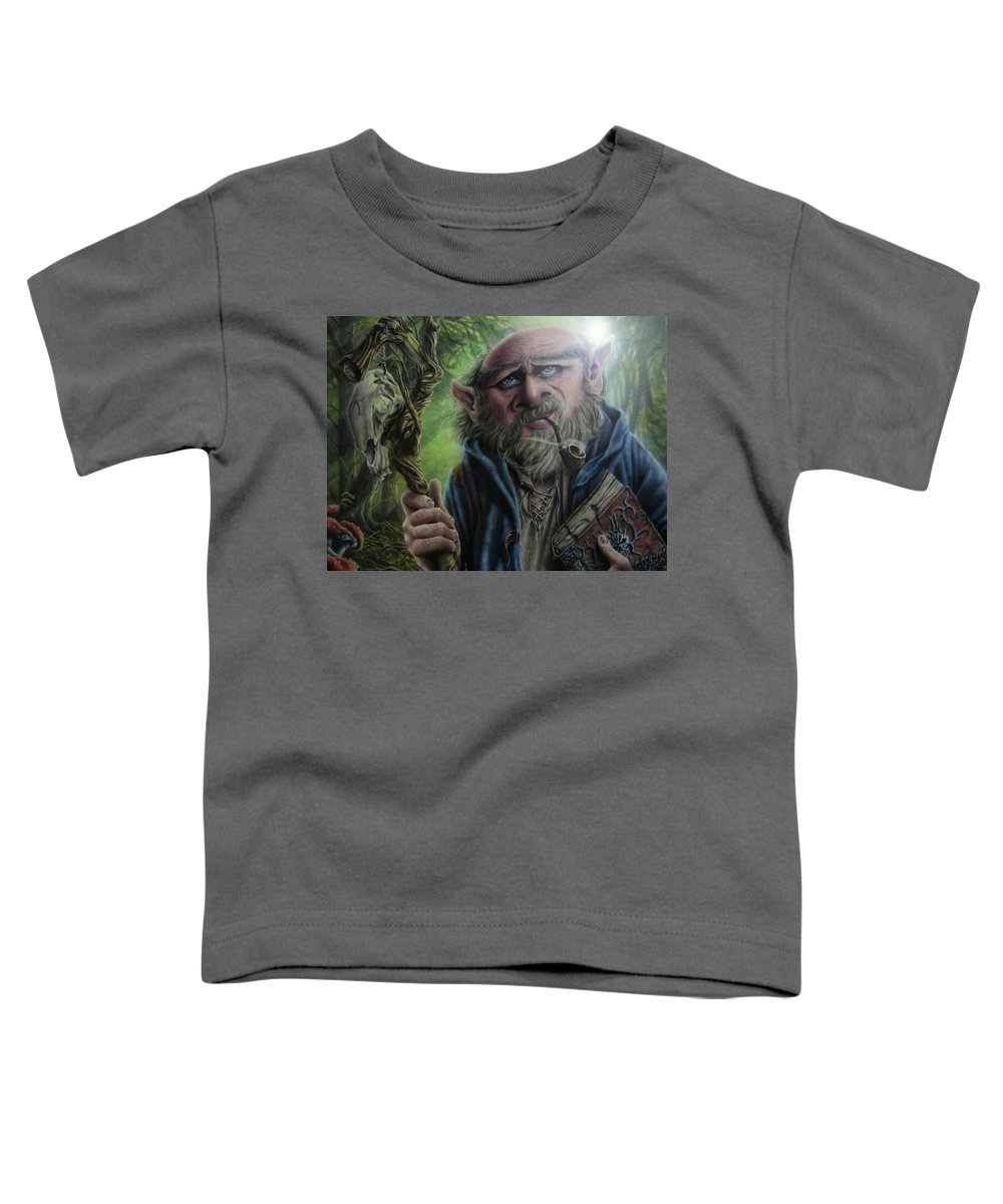 Fantasy Toddler T-Shirt featuring the painting Gnome wizard by Robert Haasdijk