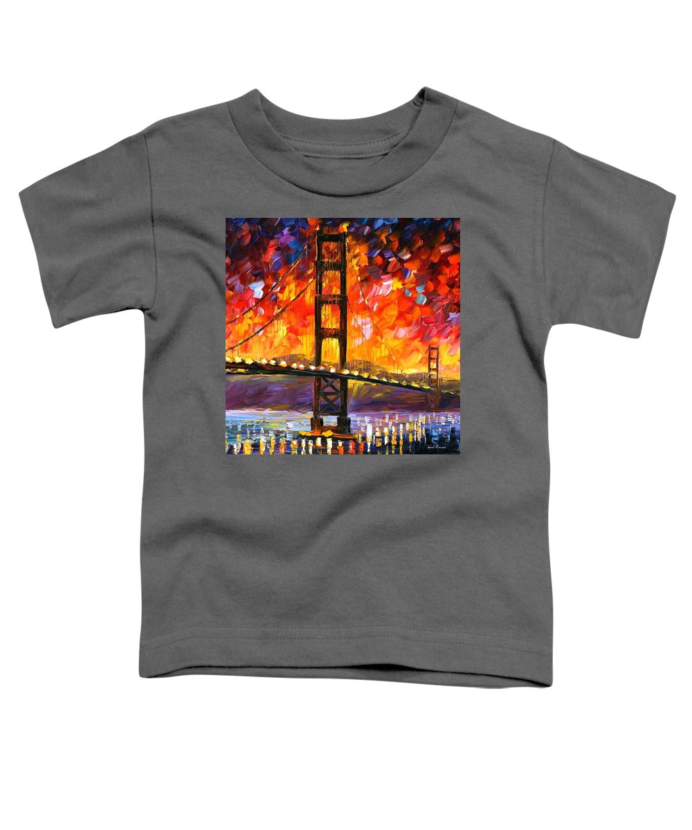 City Toddler T-Shirt featuring the painting Golden Gate Bridge by Leonid Afremov