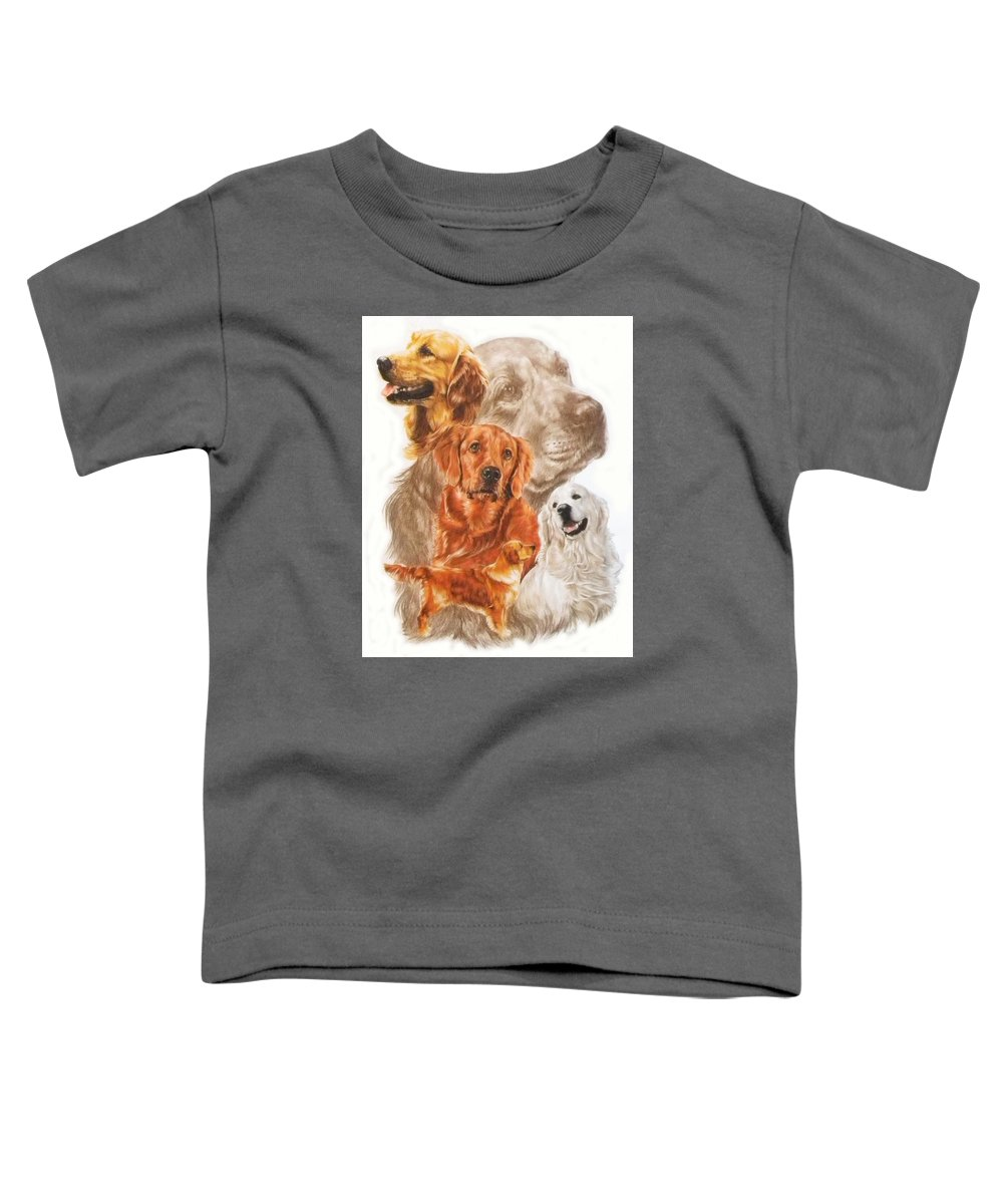 Dog Toddler T-Shirt featuring the mixed media Golden Retriever W/ghost by Barbara Keith