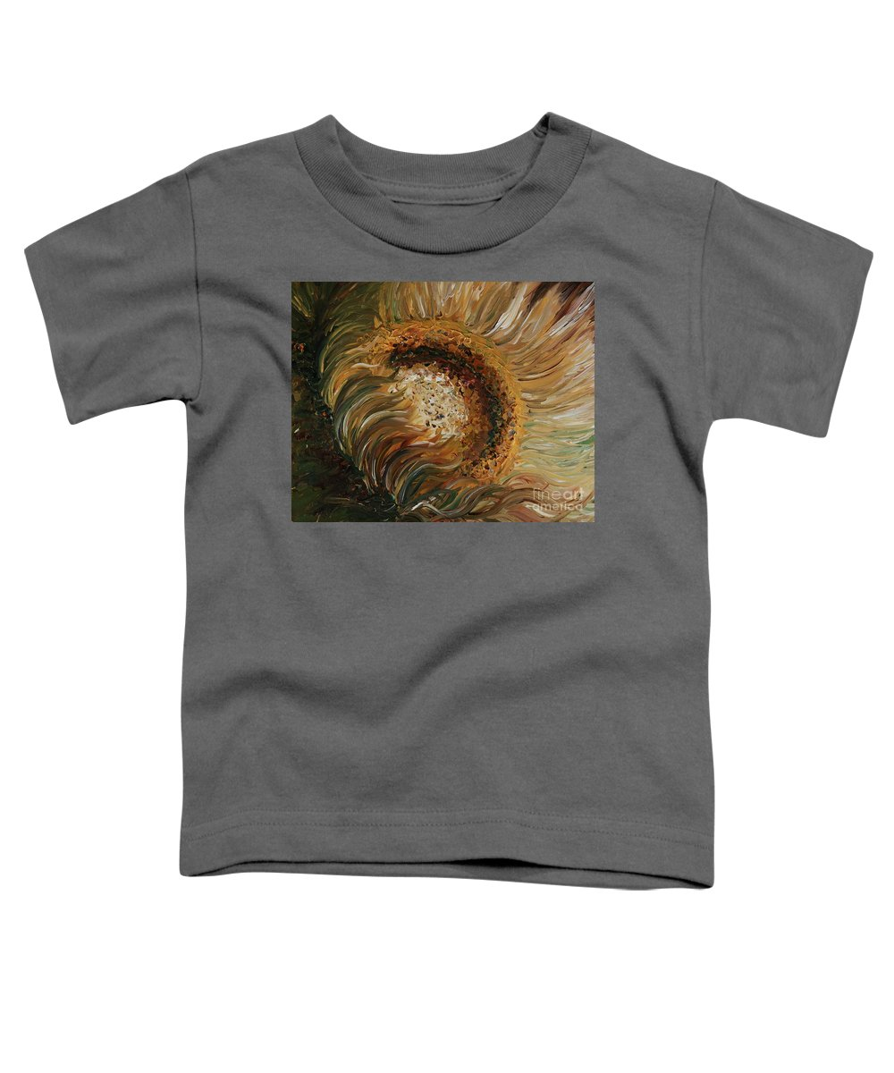 Sunflower Toddler T-Shirt featuring the painting Golden Sunflower by Nadine Rippelmeyer