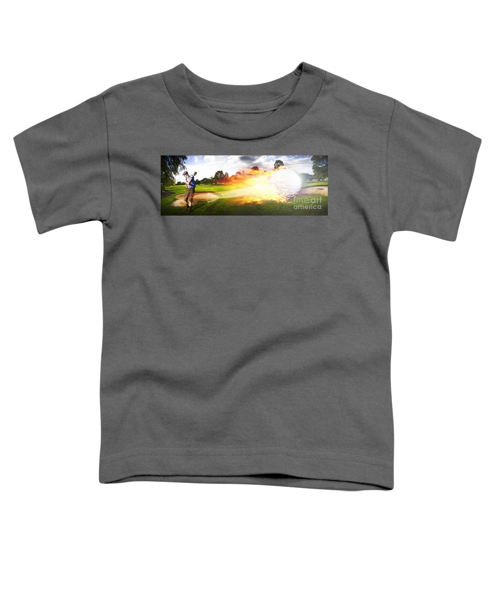 Vacation Toddler T-Shirt featuring the photograph Golf Ball On Fire by Jorgo Photography - Wall Art Gallery