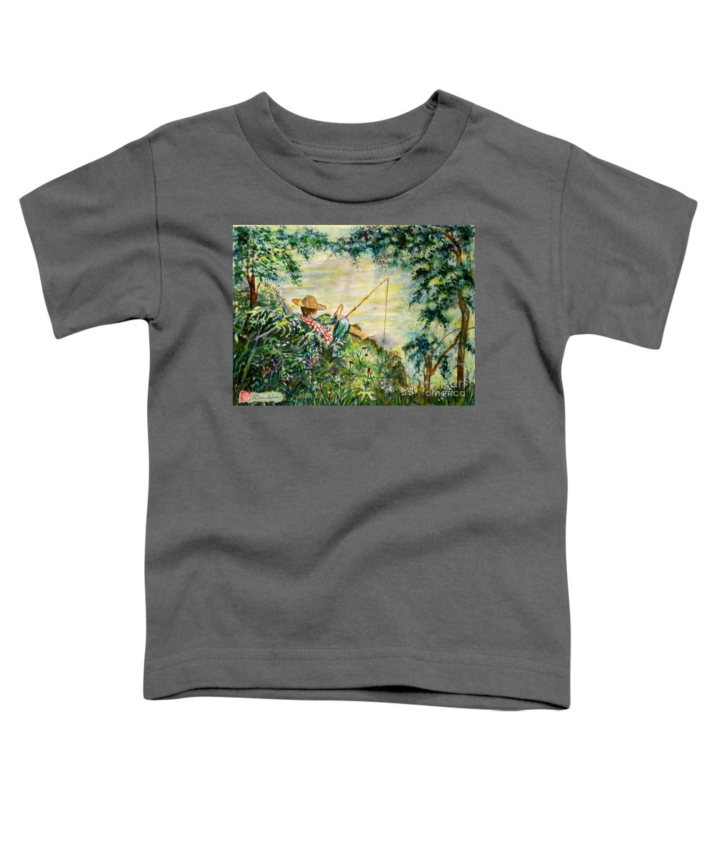 Landscape Toddler T-Shirt featuring the painting Good Fishing by Norma Boeckler