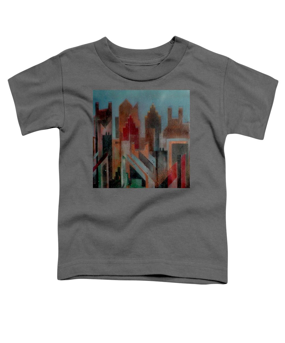 Abstract Toddler T-Shirt featuring the painting Gothem City by Anita Burgermeister