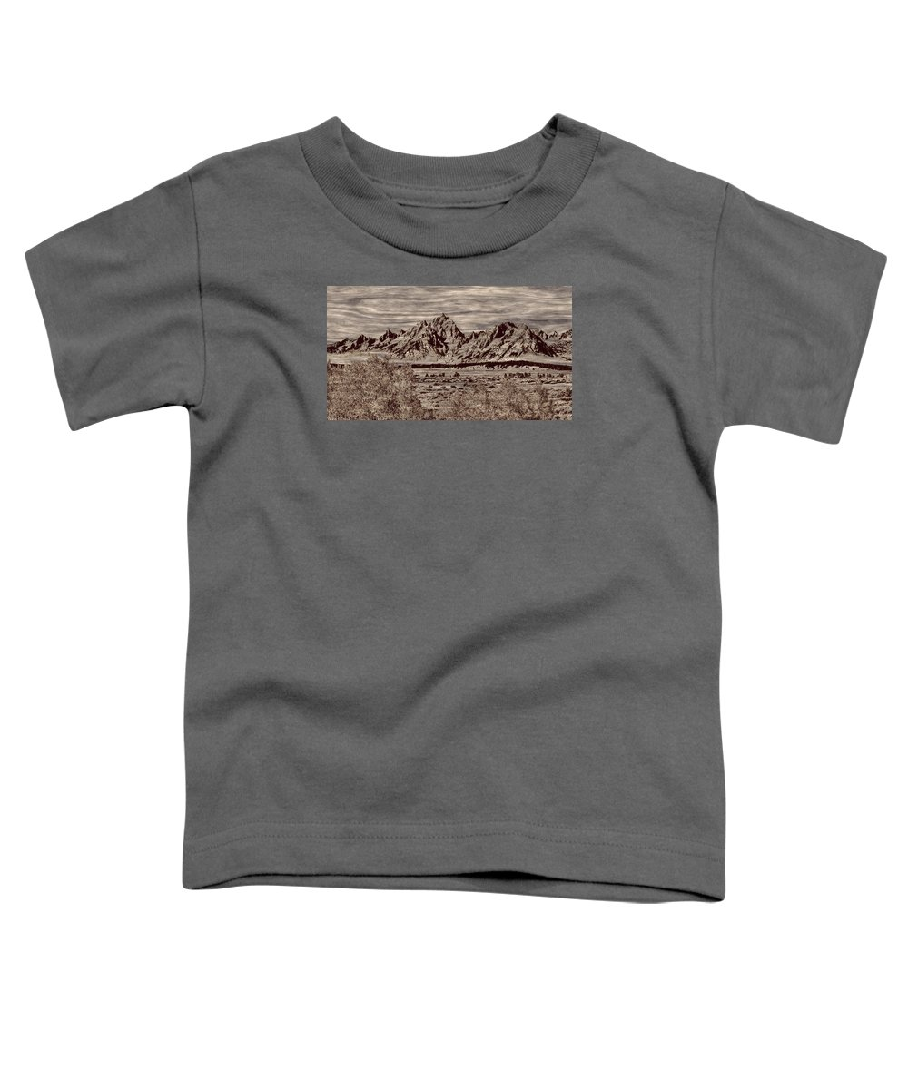 Jackson Toddler T-Shirt featuring the photograph Grand Tetons Woodburning by John M Bailey