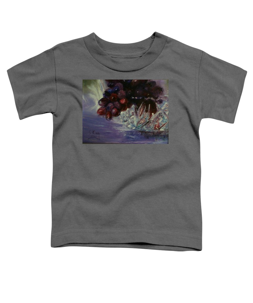 Still Life Toddler T-Shirt featuring the painting Grapes And Glass by Stephen King