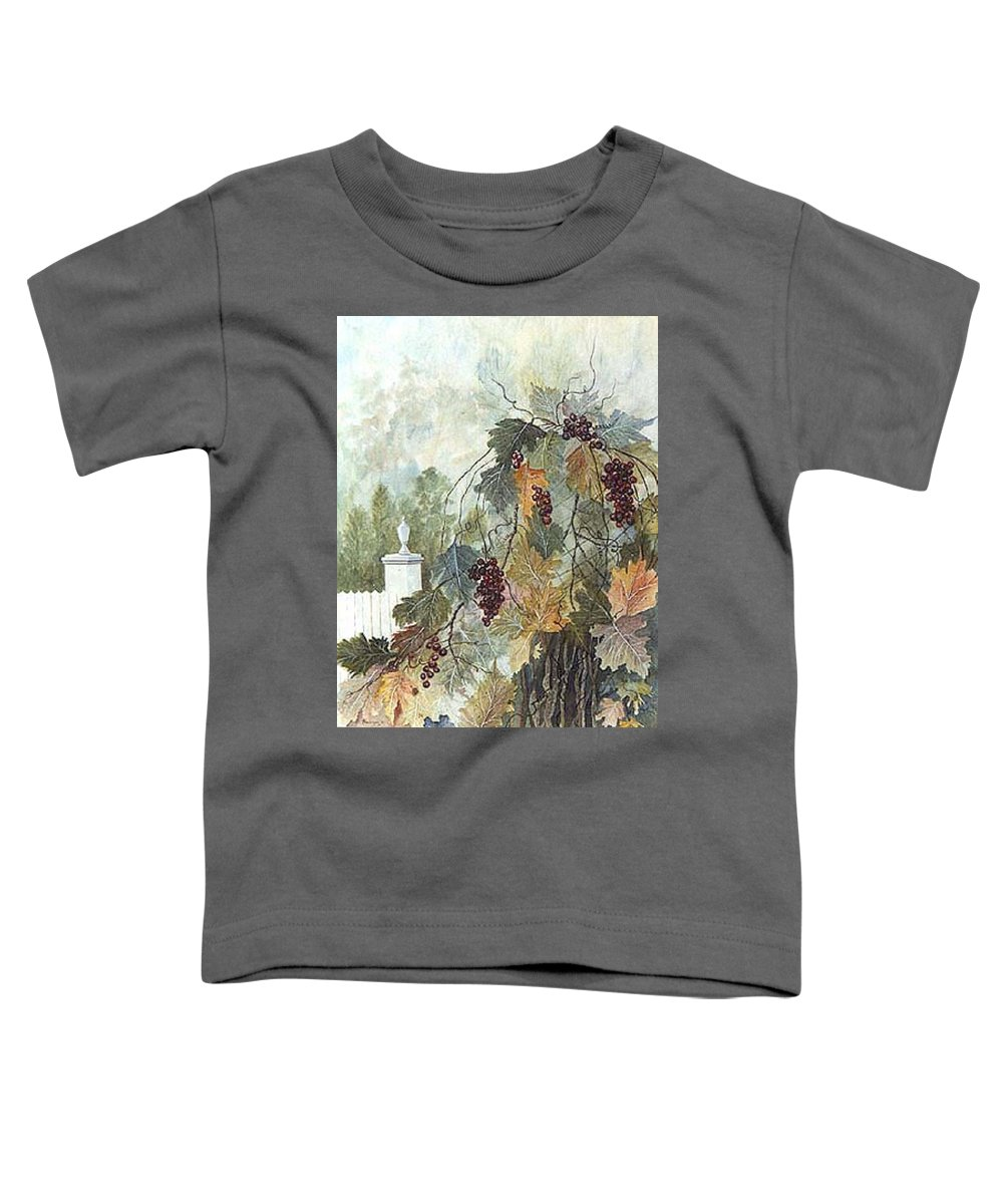 Fruit Toddler T-Shirt featuring the painting Grapevine Topiary by Ben Kiger