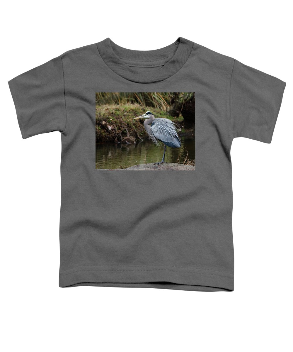Hero Toddler T-Shirt featuring the photograph Great Blue Heron On The Watch by George Randy Bass