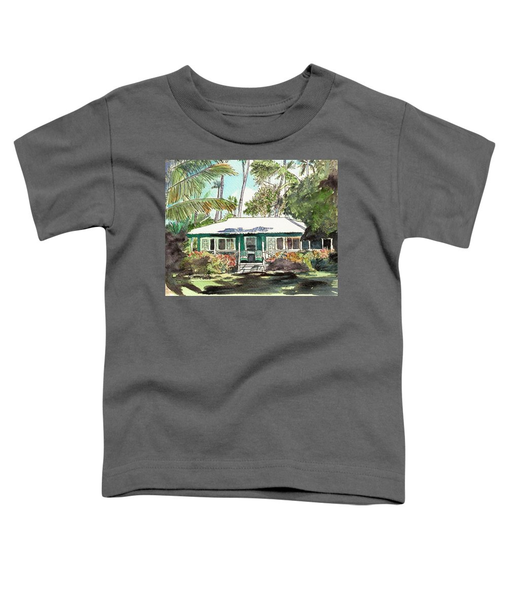 Cottage Toddler T-Shirt featuring the painting Green Cottage by Marionette Taboniar