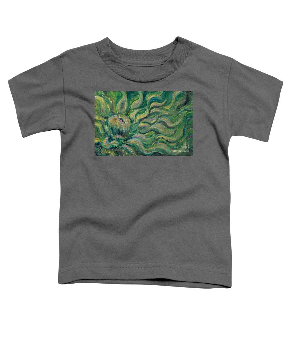 Green Toddler T-Shirt featuring the painting Green Flowing Flower by Nadine Rippelmeyer