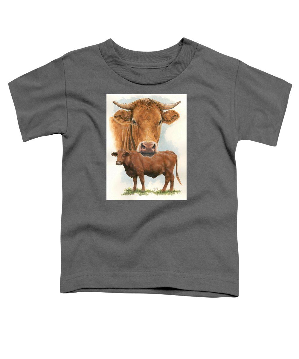 Cow Toddler T-Shirt featuring the mixed media Guernsey by Barbara Keith