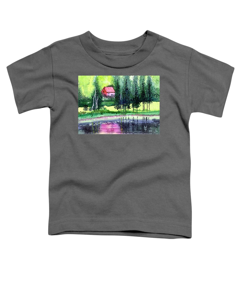 Landscape Toddler T-Shirt featuring the painting Guest House by Anil Nene
