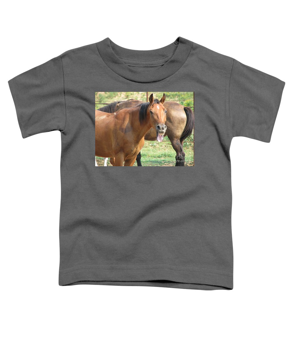 Horse Toddler T-Shirt featuring the photograph Haaaaa by Amanda Barcon