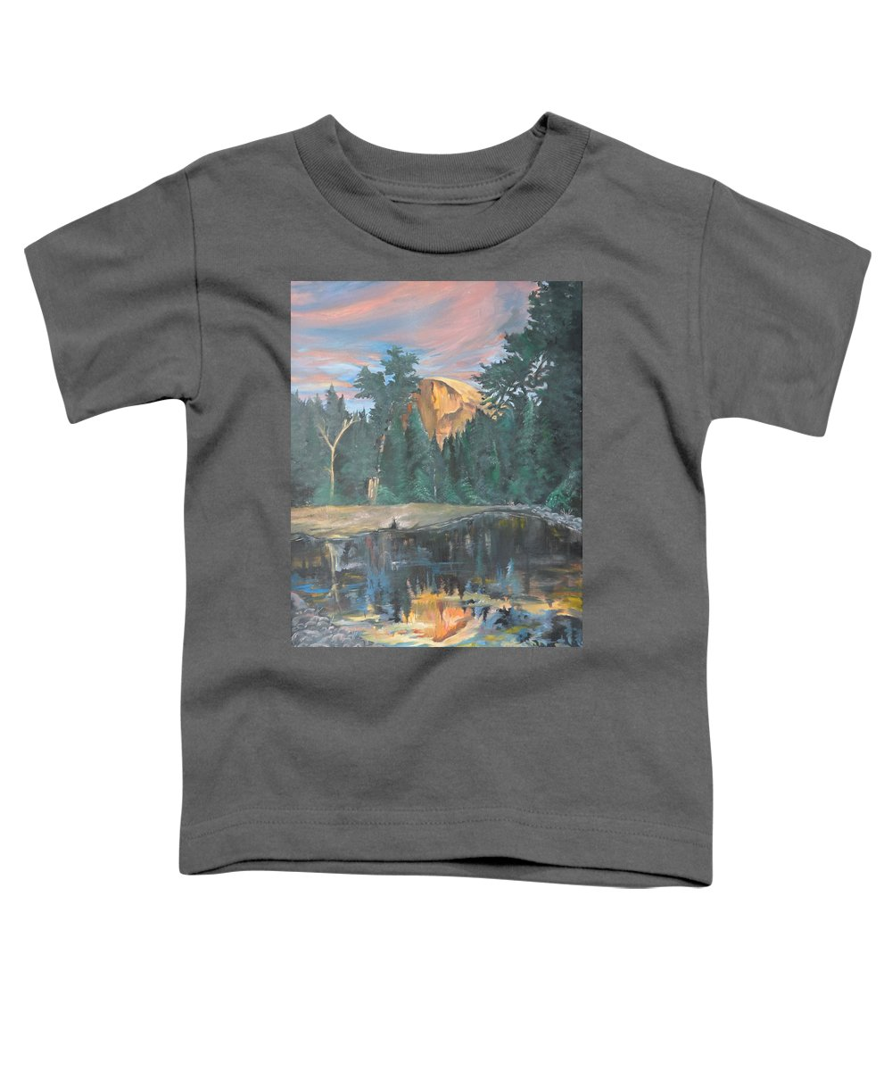 Sunset Toddler T-Shirt featuring the painting Half Dome Sunset by Travis Day