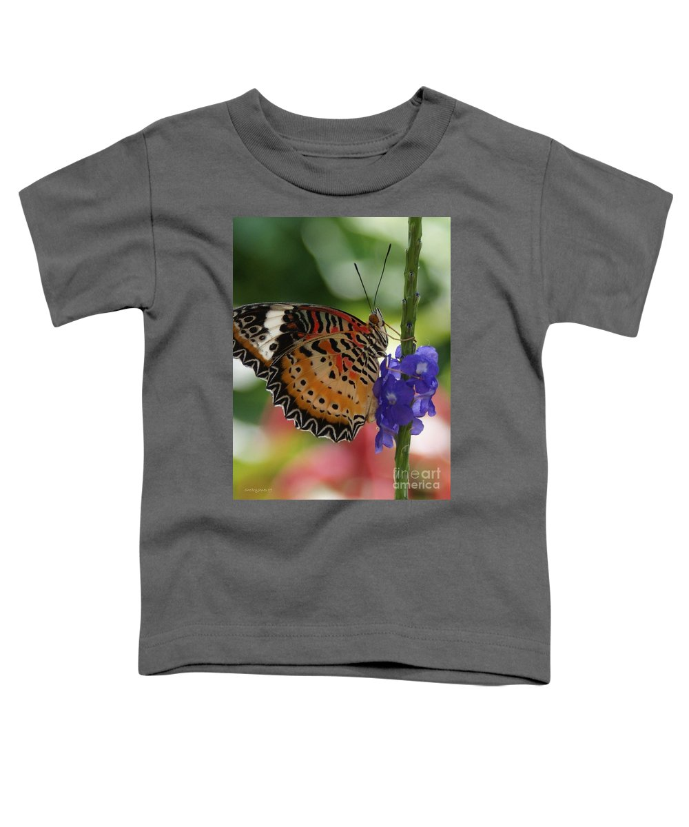 Butterfly Toddler T-Shirt featuring the photograph Hanging On by Shelley Jones