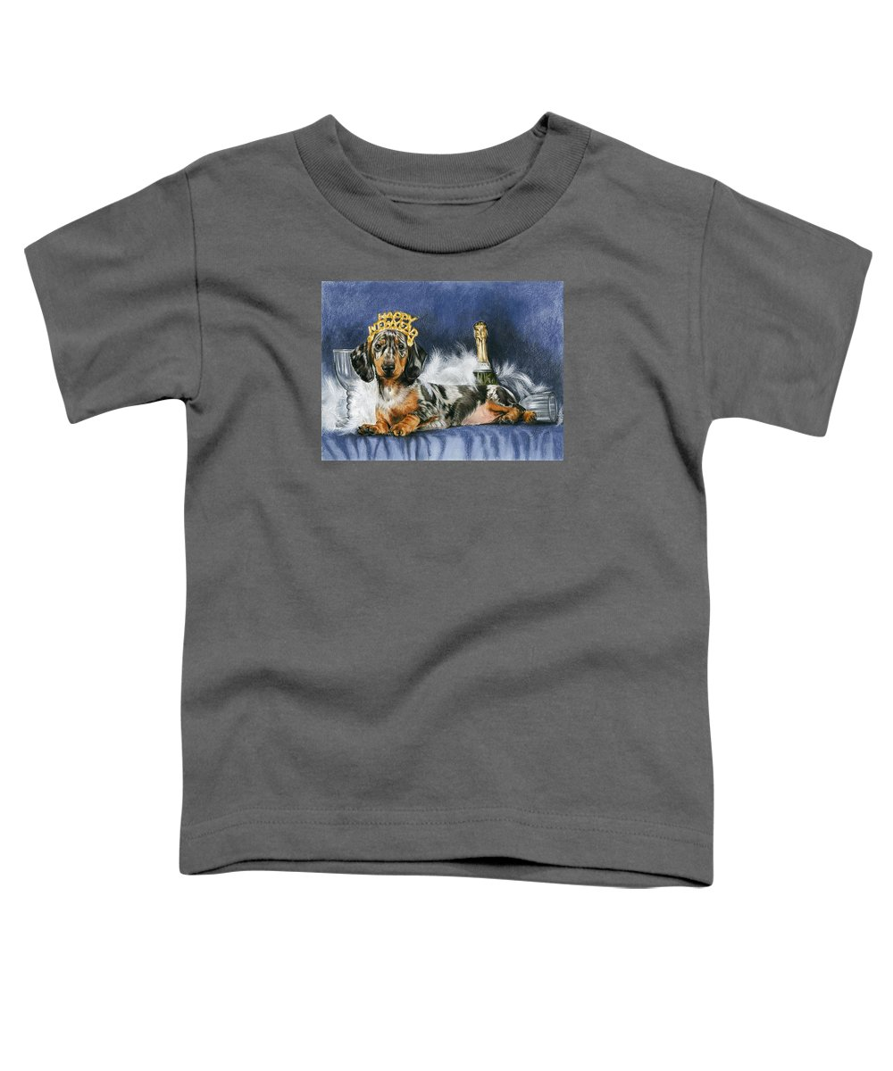 Dogs Toddler T-Shirt featuring the mixed media Happy New Year by Barbara Keith