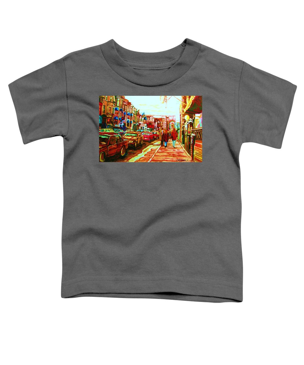 Montreal Streetscenes Toddler T-Shirt featuring the painting Hard Rock On Crescent by Carole Spandau