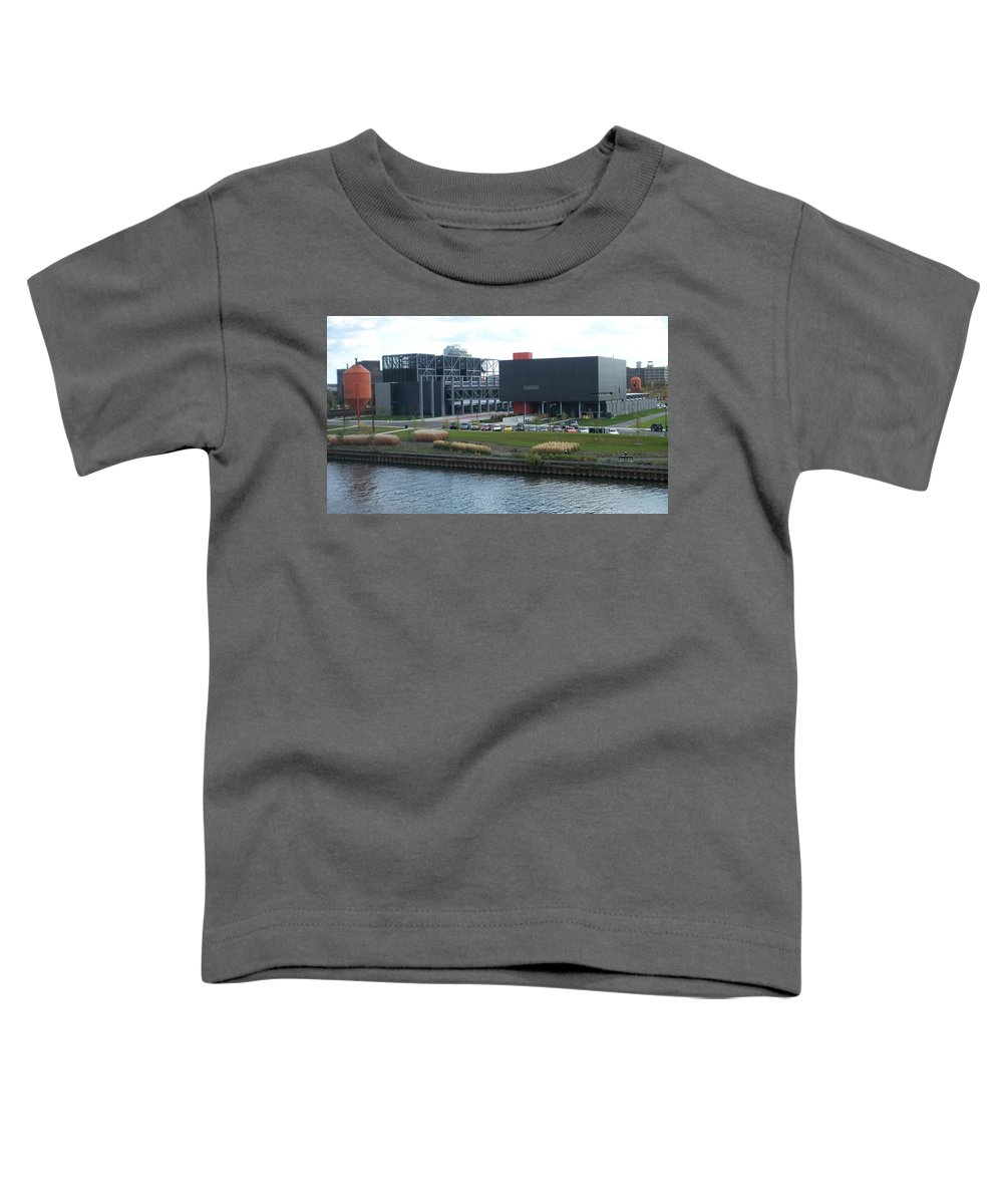 Architechture Toddler T-Shirt featuring the photograph Harley Museum Milwaukee by Anita Burgermeister