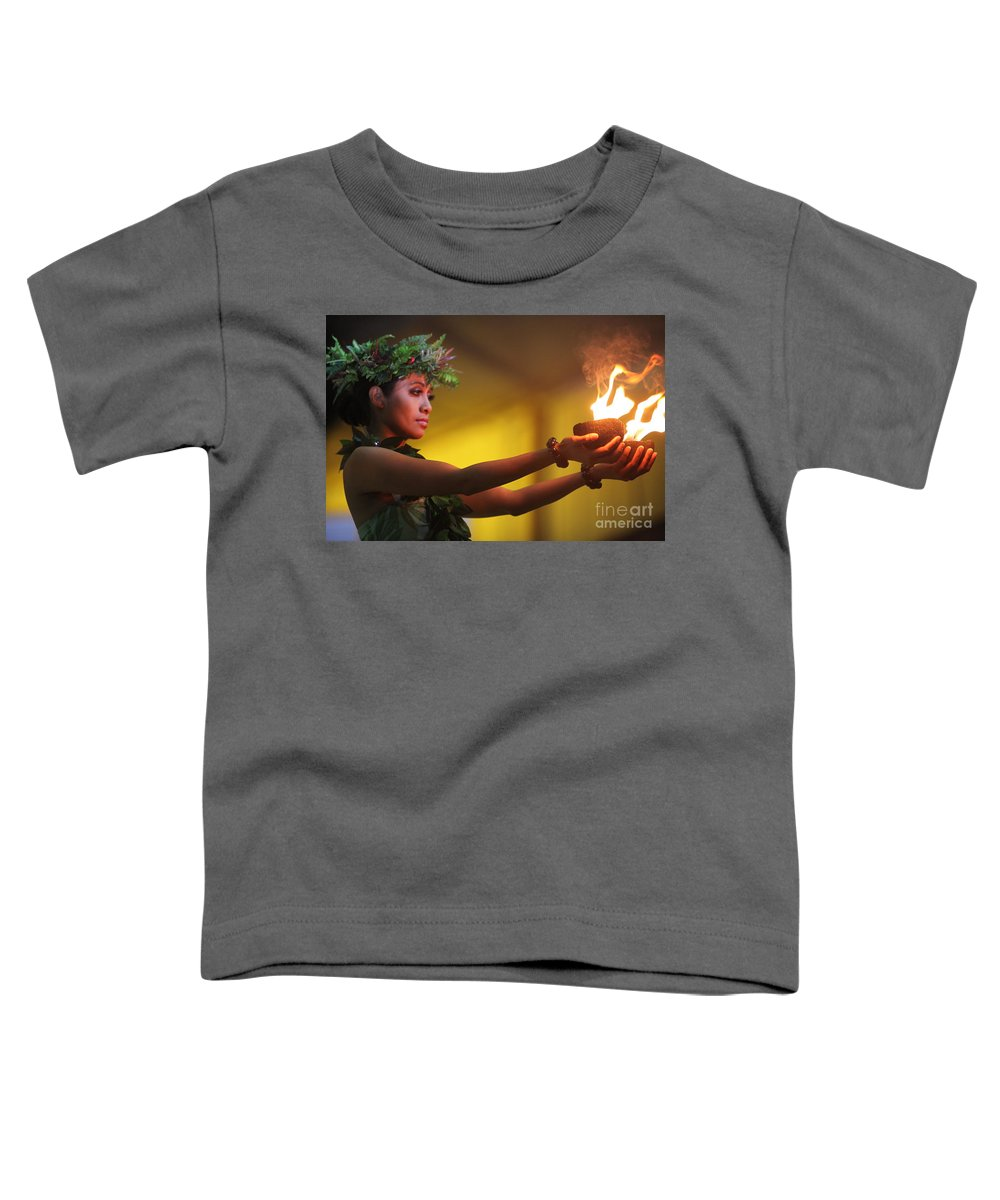 Fire Toddler T-Shirt featuring the photograph Hawaiian Dancer And Firepots by Nadine Rippelmeyer
