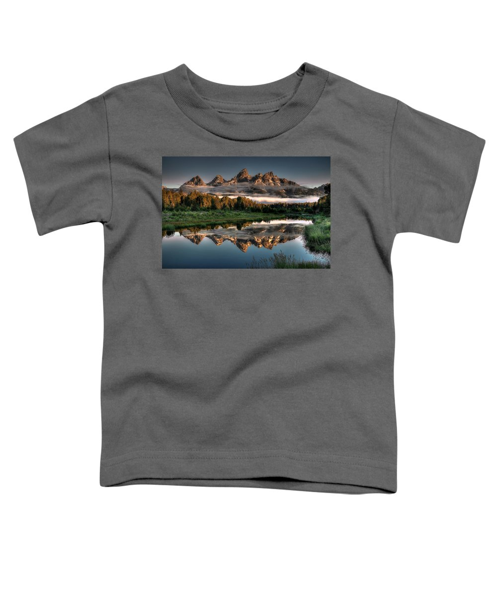 Schwabacher Landing Toddler T-Shirt featuring the photograph Hazy Reflections at Scwabacher Landing by Ryan Smith