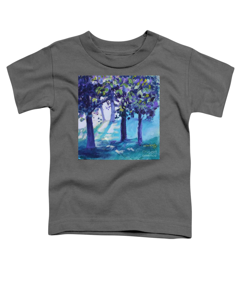 Expressionist Toddler T-Shirt featuring the painting Heart Of The Forest by Jan Bennicoff