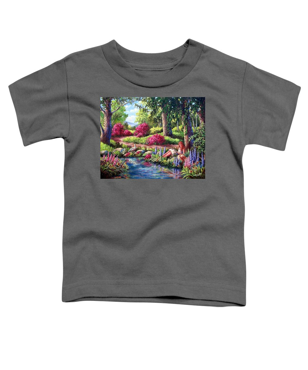 Read Toddler T-Shirt featuring the painting Her Reading Hideaway by David G Paul