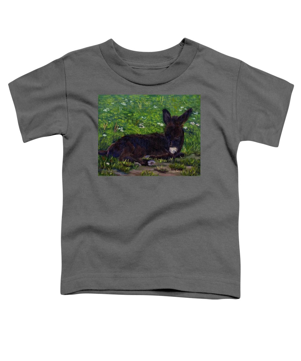 Donkey Toddler T-Shirt featuring the painting Hercules by Sharon E Allen