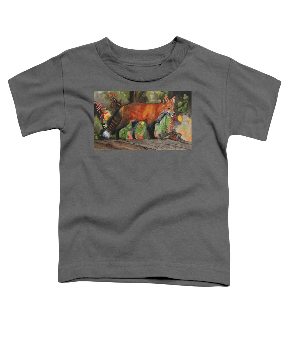 Fox Toddler T-Shirt featuring the painting Hiding In Plain Sight by Jean Blackmer