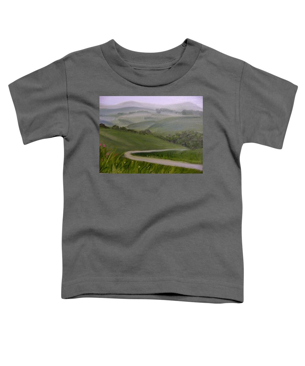 Pathway Toddler T-Shirt featuring the painting Highway Into The Hills by Toni Berry
