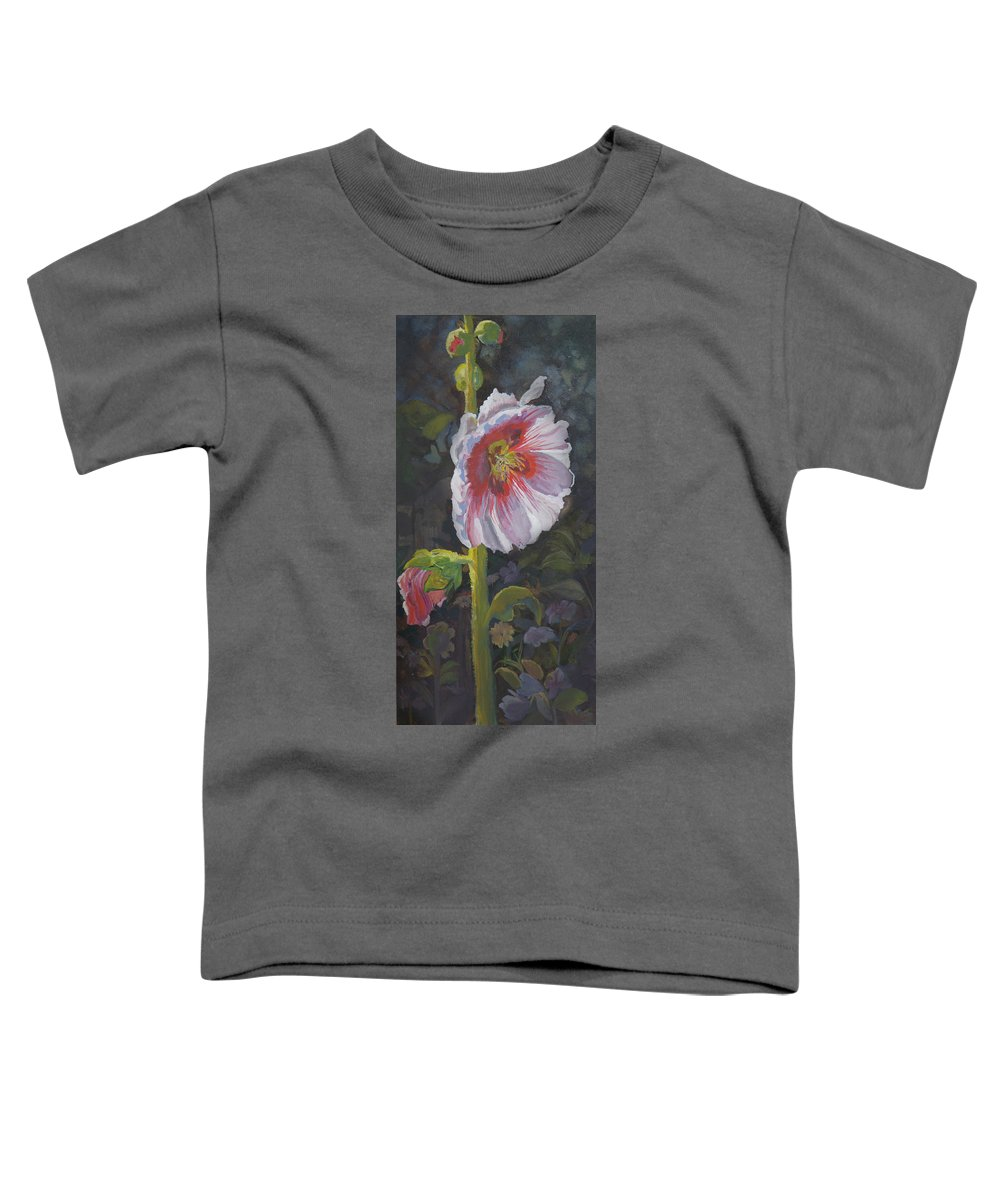 Flower Toddler T-Shirt featuring the painting Hollyhock by Heather Coen