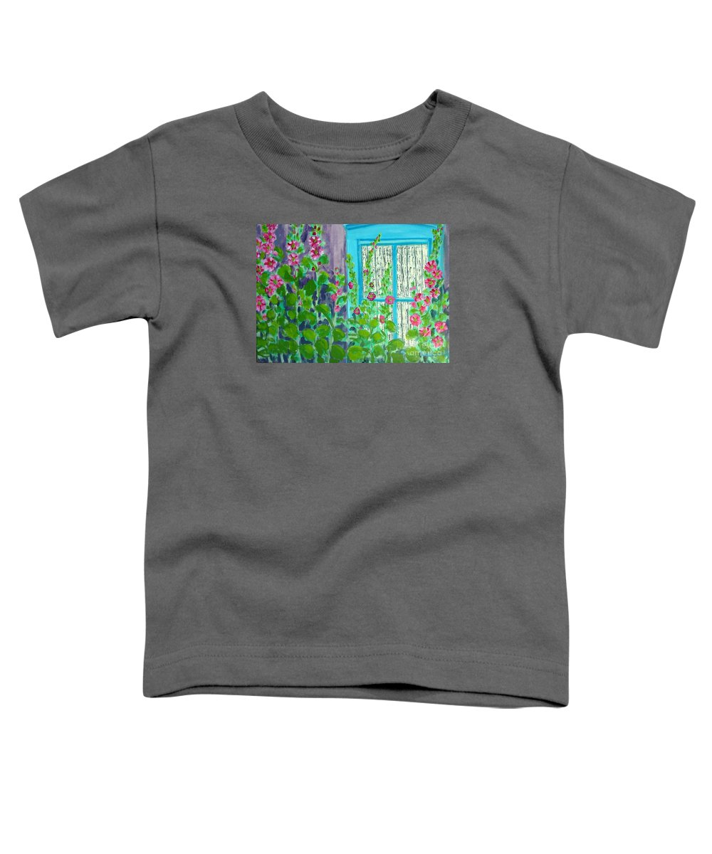 Hollyhocks Toddler T-Shirt featuring the painting Hollyhock Surprise by Laurie Morgan