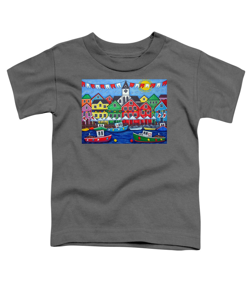 Boats Canada Colorful Docks Festival Fishing Flags Green Harbor Harbour Toddler T-Shirt featuring the painting Hometown Festival by Lisa Lorenz