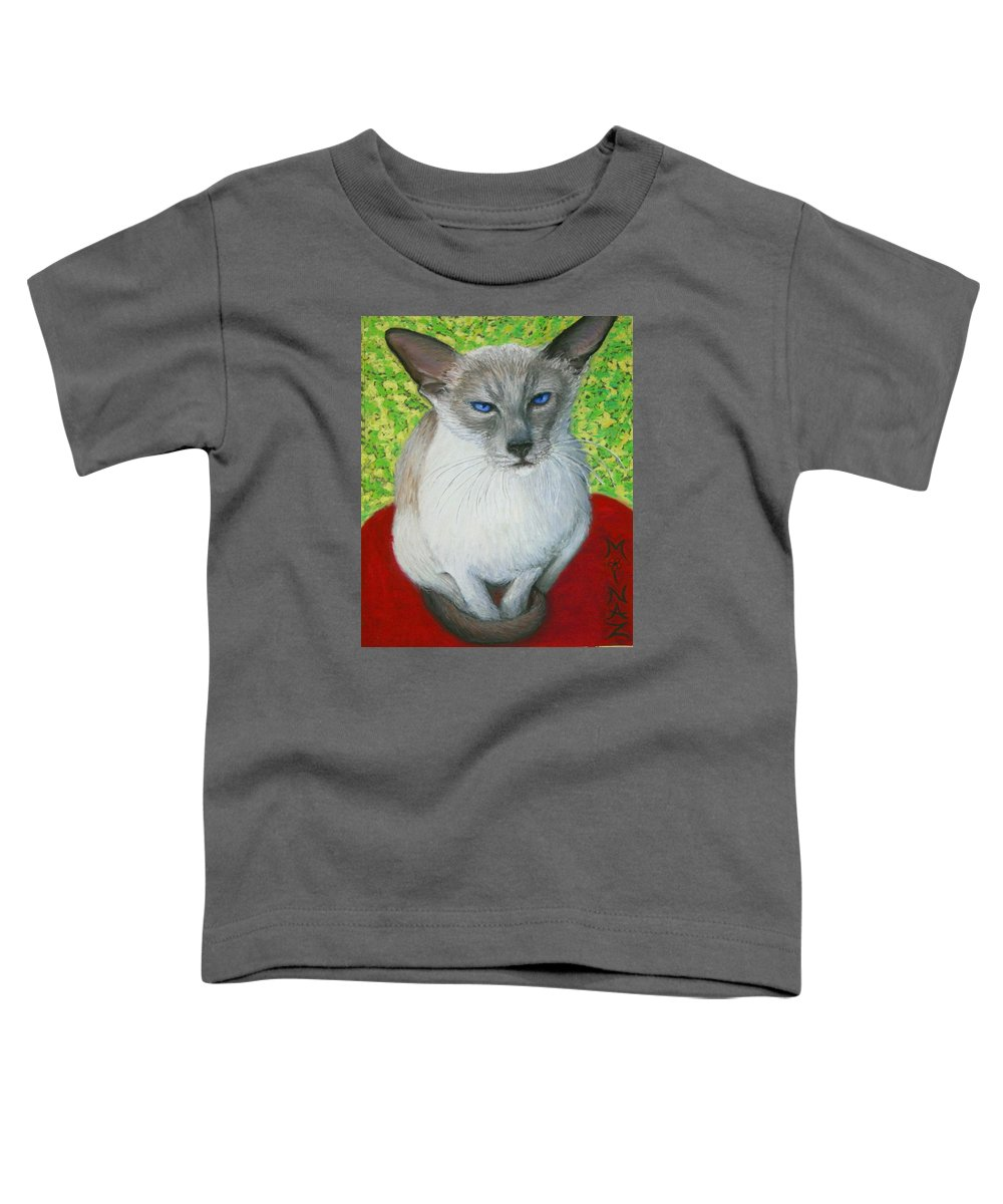 Siamese Toddler T-Shirt featuring the painting I Am Siamese If You Please by Minaz Jantz