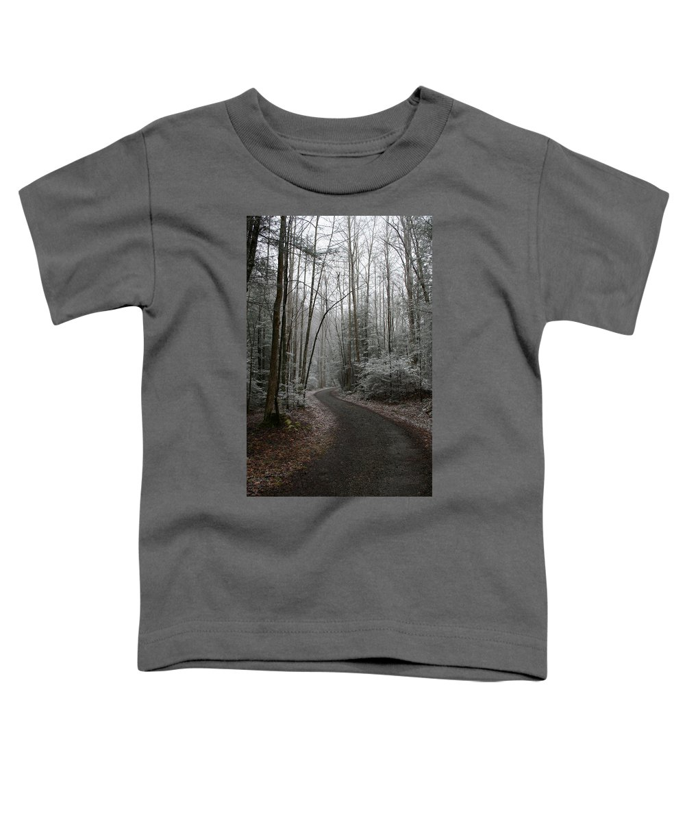 Nature Road Country Woods Forest Tree Trees Snow Winter Peaceful Quite Path White Forest Drive Toddler T-Shirt featuring the photograph I Am The Way by Andrei Shliakhau