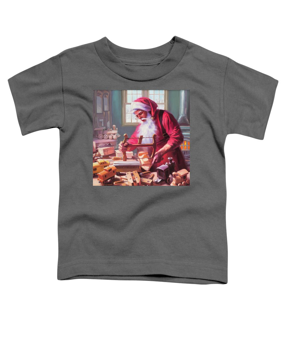 Santa Toddler T-Shirt featuring the painting In The Workshop by Steve Henderson