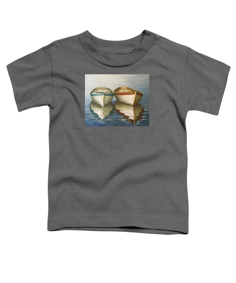 Seascape Ocean Reflection Water Boats Sea Toddler T-Shirt featuring the painting In Touch by Natalia Tejera