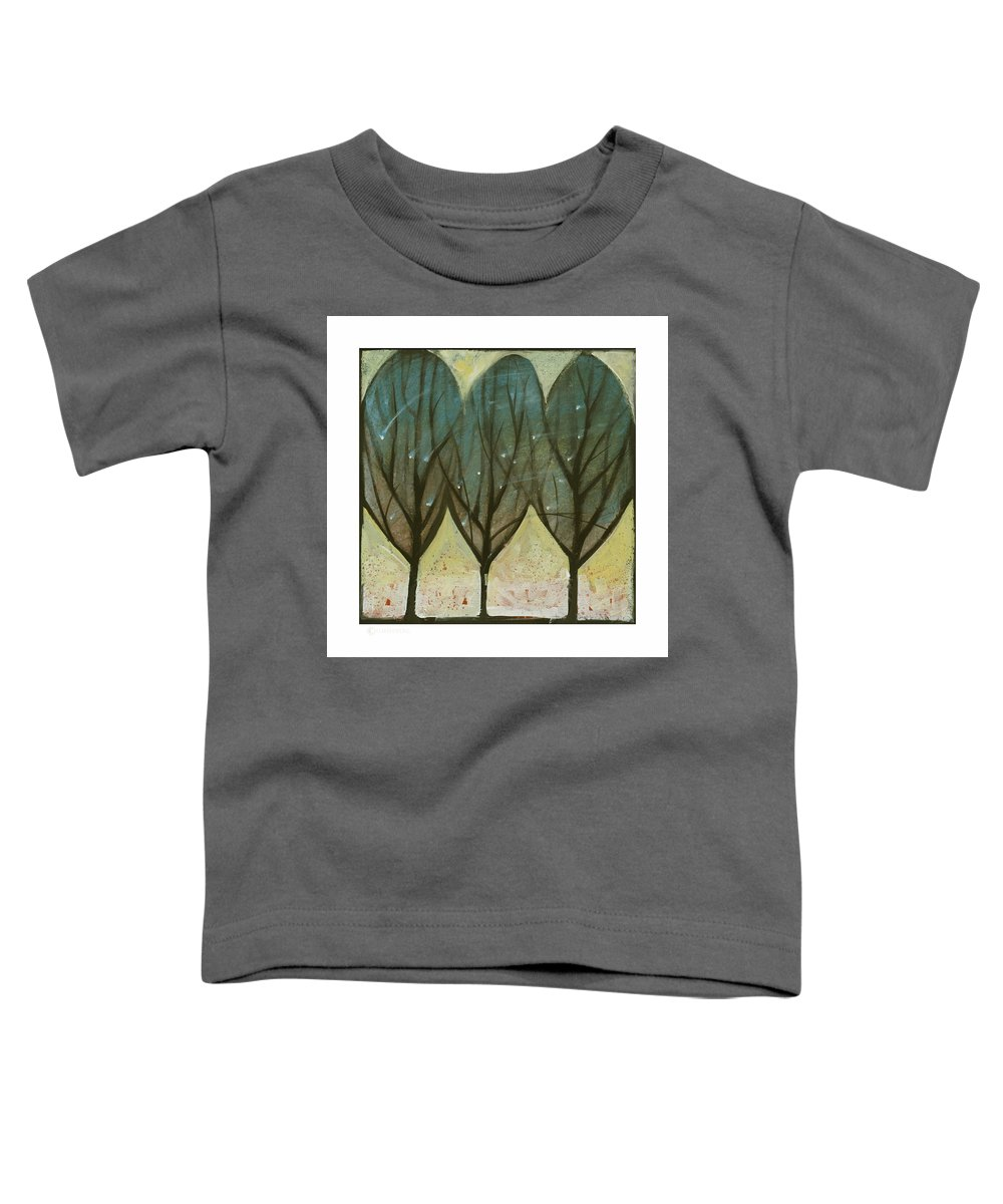 Trees Toddler T-Shirt featuring the painting Indian Summer Snow by Tim Nyberg