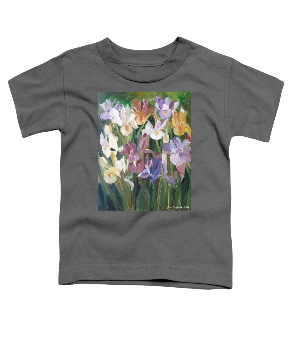 Irises Toddler T-Shirt featuring the painting Irises by Gina De Gorna